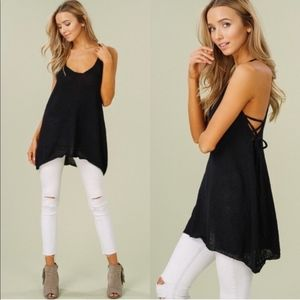 CHRISSIE Lace up Tank Top - BLACK